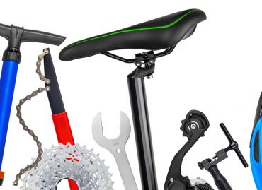 54719060 - bicycle parts panorama isolated on white background